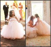 vestidos de menina linda flor de marfim venda por atacado-Bela Flor Menina Vestidos para Festa de Casamento Marfim Tule Princesa Crianças Vestidos de Comunhão Vestidos de Espaguete Do Bebê Pageant