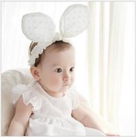 bebek bezi saç bantları toptan satış-50 adet / grup Pembe Ve Beyaz 2016 Yeni Güzel Tavşan Kulak Bandı Bebek Pamuklu Bez Saç Baş Bandı Sevimli Çocuklar saç aksesuarları Bebekler Bantlar