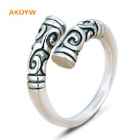Wholesale Horn Products - Wholesale- Thai silver Colour and black New Lady fashion exquisite retro opening ring resizable ring jewelry cute unisex products