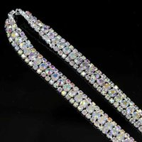 5yard 9mm Diamante Rhinestone Crystal AB 3Rows Trim Silver Tone Cake Banding Decoration / Garment bead Accesorry