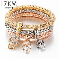 Wholesale Silver Charm Bracelets Luxury - Wholesale-17KM New Fashion Gold Silver Crystal Skull Bracelet & Bangle 3 PCS Set Charm Luxury Love Anchors Heart Women Bracelet Gift
