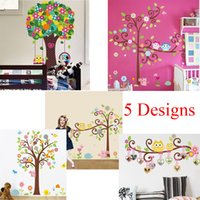 Wholesale Europe Owl - 100pcs ZY1001 1007 1008 1011 1015 owls tree wall stickers for kids room decorations nursery cartoon children home decals ZY1011 animals