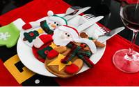Wholesale Wholesale Pocket Knife Bag - Santa Suit Clothes Christmas Cutlery Silverware Holder Pockets Knives Bag Xmas Party Table Decorations Supplies HA239