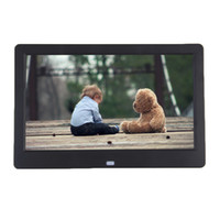 mp4 digitales foto großhandel-Super Slim 10,1 10 Zoll TFT LCD digitaler Bilderrahmen Album MP4 Movie Player Wecker 16: 9 1024 * 600 JPEG / JPG / BMP MMC / MS / SD MPEG AVI Xvid