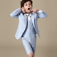 Wholesale Three Piece Vest For Kids - pure color Tuxedos Suits for Kids Fashion Boys Formal Wears 3Pieces Wedding Party Prom Children Attire fashion(Jacket+Pants+Vest)