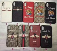 Wholesale Iphone Cases Bees - NEW fashion Luxury brand tiger bee snake phone case for iPhone X 7 6 6S plus hard back cover for iPhone8 8plus