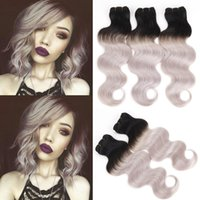 Wholesale human hair weave bonding online - 8A b grey Two Tone Human Hair Weave Brazilian Hair Bundles Body Wave Hair Bellqueen Hair