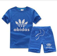 Wholesale Coloured Cotton T Shirts - 2016 summer new children clothes Brand baby Boys clothing set children girls T-shirt kids sport sets sweatshirt+Pants 2PCS suit