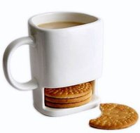 Wholesale Office Coffee Holders - 24pcs lot 250ML Ceramic Mug White Coffee Tea Biscuits Milk Dessert Cup Tea Cup Side Cookie Pockets Holder For Home Office