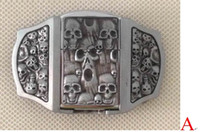 Wholesale belt buckles lighters resale online - 3D Skull belt buckle with kerosene lighter with pewter finish SW P03 brand new condition with continous stock