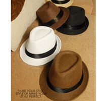 Wholesale Small Brim Summer Hats - Summer Korean Fashion Trend Jazz Cap Made Of Straw Men And Women Beach Small Brim Hat