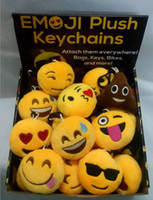 Wholesale Key Chain Cute Dolls - QQ Emoji Plush Pendant Key Chain Fashion Emoji Smile Emothion Yellow Cute Expression Plush Dolls Cartoon Plush Pendant Car Chain B4023