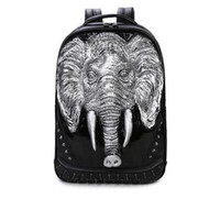 Wholesale Silicone Male Body - Fashion leisure Free Shipping rivet Free 3D silicone elephant punk backpack personality creative Street casual upscale PU male punk Backpack