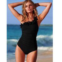 Wholesale Swimsuits Monokinis - Wholesale- Women One Piece Swimsuit Plus size Swimwear flouncing Mesh One Shoulder Bathing suit oversize Black female Monokinis Beachwear