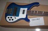 kaliteli ipler toptan satış-Best8guitar Toptan Yüksek Kalite Rick 4003 Mavi 4 Strings Elektrik Bas Gitar ücretsiz kargo