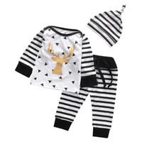 ad1e4e575 pijamas de rayas blancas negras al por mayor-Bebé recién nacido niño ciervo  imprimir tops