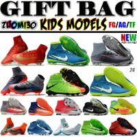 Wholesale Soft Leather Kids Shoes - High Top Men Kids Indoor Neymar TF Soccer Shoes Mercurial Superfly V CR7 FG AG Football Boots Ronaldo Youth Magista Obra Soccer Cleats Women