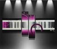 peintures d'art abstrait violet achat en gros de-Peint à la main 4 pcs / ensemble noir blanc violet art moderne abstrait peintures à l'huile wall art photos pour salon décoration de la maison