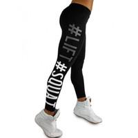 Wholesale Free Squat - Women's Sport Pants Capris Lift Squat Letter Bodybuilding Skinny Stretchy Pants Tight fitting Elastic Slim Fitness Pencil Trousers DDK11 RF