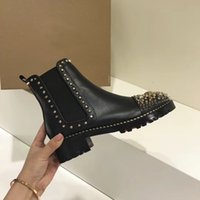Wholesale Top Quality Work Boots - New design women ankle boots top quality with Rhinestones Rivets women shoes genuine leather woman brand autumn boots Fashion women shoes