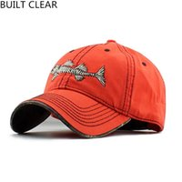 Wholesale Building Bone - (Built Clear )Casquette High Quality Embroidery Fish Bones Men 'S Sports Cap Snapback Casual Women Sunscreen Shade Baseball Cap