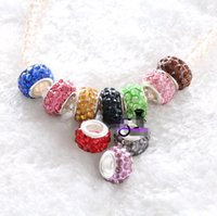 Wholesale 100pcs Resin Rhinestone Loose Beads MM Large Holes Beads for Making Bracelets Jewelry Findings Mix