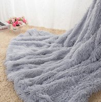 Wholesale Grey Blanket Throw - High Quality Fluffy Plush Fleece Blankets for Beds Soft Throw Blanket Air Conditioning Manta Pink Grey Plaid Bedspreads Cobertor