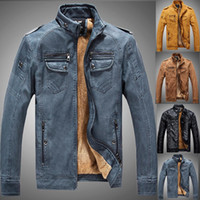 Wholesale Leather Sleeve Denim Jacket - Denim Color New Winter Leather Jacket Mens Coats Fur inside Men Motorcycle Jacket High Quality Thick Warm PU Leather Outwear