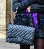 Wholesale Double Flap - Fab Price XLarge Classial 33CM Maxi Quilted Chain Black Genuine Lambskin Leather Double Flaps Fashion Shoulder Chain Bag Gold   Silver Hw