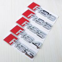 audi a4 aufkleber großhandel-Großhandel 3D Metall Embleme RS3 RS4 RS5 RS6 RS8 Auto Aufkleber Auto Modifikation 3D Auto Logo Metall Auto Abzeichen für Audi A3 A4 A5 A6 A6L A8 A8L