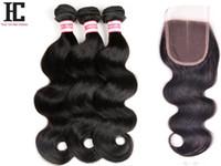 reinas productos para el cabello cuerpo onda al por mayor-7A Pelo peruano con cierre 3 paquetes Queen Hair Products con cierre Bundle armadura de cabello humano Peruvian Body Wave con cierre HC