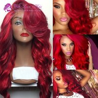 New Arrival Red Synthetic Lace Front Wig Glueless Body Wave peruca de cabelo resistente ao calor Rápido envio