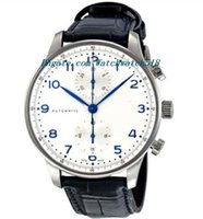 Wholesale Automatic Portuguese Watches - Luxury Watches Leather Bracelet Portuguese Chronograph Automatic Mens Watch 371446 Mechanical MAN WATCH Wristwatch