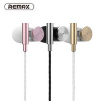 Wholesale original brand tablets online - Original REMAX RM metal In ear Headset M Fashion Stereo Bass Sport Music Earphone for For Mobile Phones Tablet PC with mic retail box