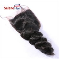 Wholesale Cheap Brazilian Lace Closures - Cheap 4x4 Lace Closure Loose Wave Brazilian Hair 100% Virgin Human Hair Full Lace Closures with Blenched Knots Grade 7A 8A Best Quality