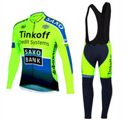 Full Breathable Men 2016 Fluorescent Colors Tinkoff Team Pro Men's Cycling Jersey Set. Winter Fleece Long Sleeve Jersey Bicycle Clothes + Bib Pants, Gel Pad .
