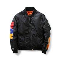 Wholesale Mens Suits Xxl - NASA Mens MA1 Bomber Jacket Insignia USAF Kanye West sharks high quality embroidery MA-1 flying suits cotton jacket Baseball Jacket