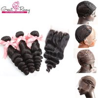 Wholesale Indian Hair Wigs Wholesalers - Wig cap with Brazilian Peruvian Malaysian Indian Hair Extensions Natural Color Loose Wave Top Closure 4x4 With 3pcs Hair Weaves Bundles