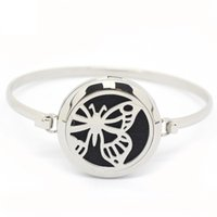 Wholesale Butterfly Locket Bracelet - 5pcs lot Round 30MM Stainless Steel Magnetic Butterfly Face Essential Oils Aromatherapy Perfume Diffuser Locket Bracelets MIJ157