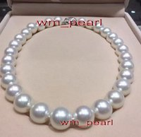 """Wholesale Real Gold White Pearl Necklace - Fine Pearls Jewelry AAAAA luster 18""""13-14mm REAL Natural south sea round white pearl necklace 14K"""