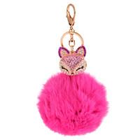 Wholesale fox ball key chains resale online - Crystal Fox Pompom Key Ring llavero Pom Pom Rabbit Fur Ball Key Chain Bag Chaveiro Femme Porte Women Fluffy Keychain