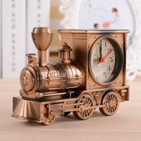 Wholesale Circular Gift Boxes - Vintage Retro Train Desk Clock Home Decor 3 Colors Creative fashion Quartz Clocks Best Promotion Gift with Boxes