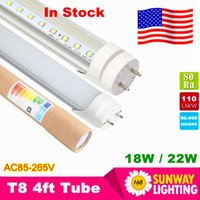 Wholesale Fluorescent Jerseys - Stock In Los Angeles New Jersey + Cree T8 Led Tube lights 4ft 1.2m 22W SMD2835 Led Fluorescent Lamp AC85-265V