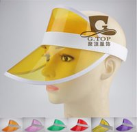 Wholesale Cap Plastic Peaks - Neon Sun Visor Peak Cap Clear Plastic Sunvisor Party Hat Festival Fancy Dress Poker Headband