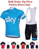 hommes cyclisme ciel achat en gros de-Sky Cyclisme Jersey avec Shorts à bretelles unisexe hommes vêtements de vélo manches courtes convient à séchage rapide fermeture à glissière portable respirable