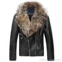 Wholesale Mens Leather Jacket Fur Coat - winter jacket man leather jacket large fur collar luxury zipper PU men leather jacket mens leather jackets and coats