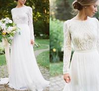 Wholesale Cheap Elegant Long Sleeve Tops - Bohemian Wedding Dress with Long Sleeves Elegant Long Chiffon Bridal Gown Lace Top Jewel Neck Cheap A Line Wedding Bridal Dress 2018