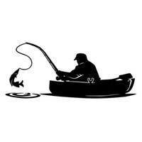 ingrosso adesivi per la pesca in vinile-Fashion Fisherman Fishing On Board Adesivo per auto che copre il corpo di interessanti decalcomanie in vinile nero / bianco