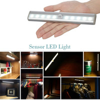 Wholesale Drier Wardrobes - 10 LEDs SMD3528 Under Cabinet Light PIR Montion Sensor Wardrobe Light Powered by 4*AAA Batteries Wireless Light White Warm White