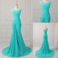 Wholesale Jacket Dressed Discount - Best Selling Mermaid V-neck Floor Length Turquoise Chiffon Cap Sleeve Prom Dresses Beaded Pleats Discount Prom Gowns Formal Evening